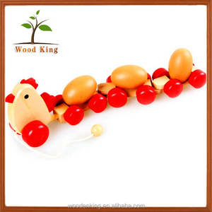 Educational Cute Wooden Lotus Wood Hen Pulled Eggs Child Tugging Wooden Branded Sunny Baby Toys China Wholesale
