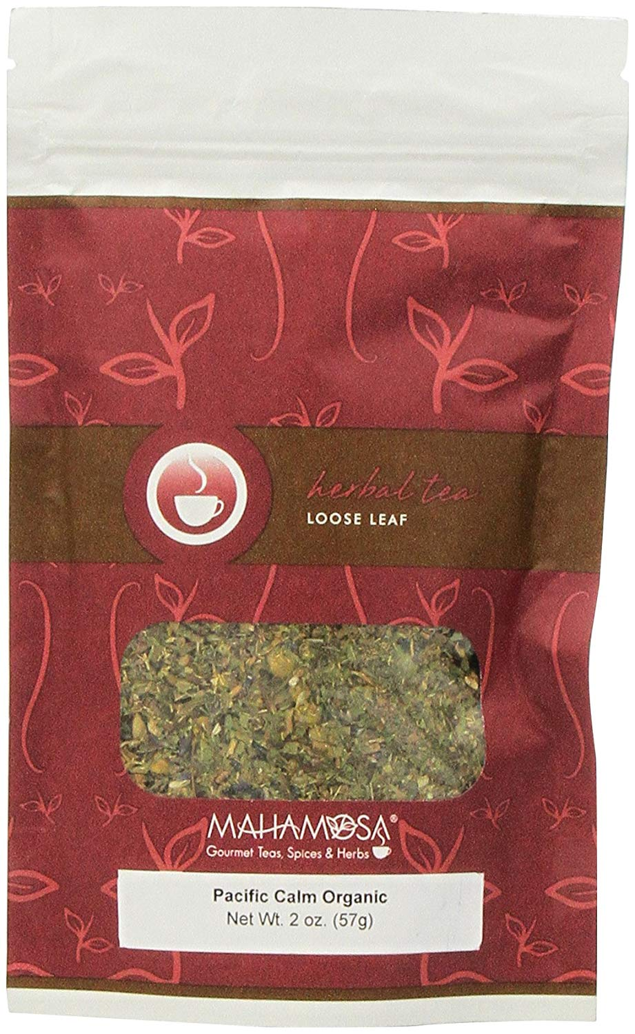 Mahamosa Pacific Calm Organic Tea 2 oz, Loose Leaf Herbal Herb Tea Blend (with valerian root, lemon verbena, lemon balm, chamomile, lavender, spearmint)