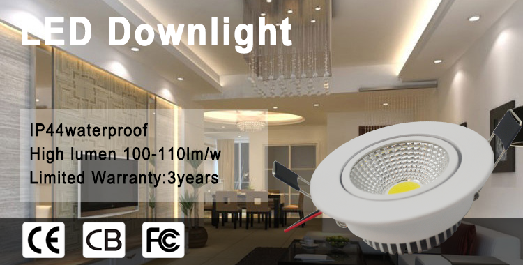 Die casting aluminum housing Cut out 95mm Indoor lighting aluminum 3w/7w round recessed ceiling downlight
