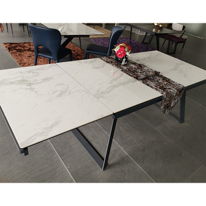 Extendable Marble Design Ceramic Top Dining Coffee Table