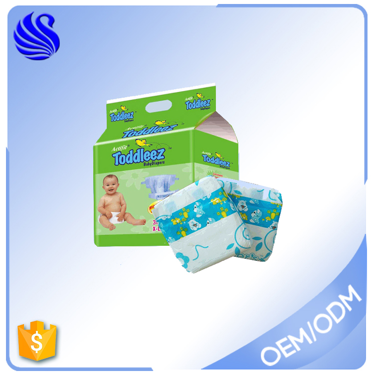 Printed Feature and Disposable Diaper Type Baby Nappy