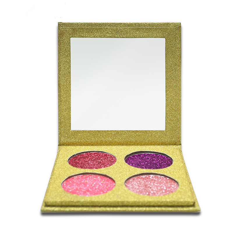 No Logo 4color Sparkle Eyeshadow Palette Black Case Aceept High Light Eye Shadow Golden Onion Powder