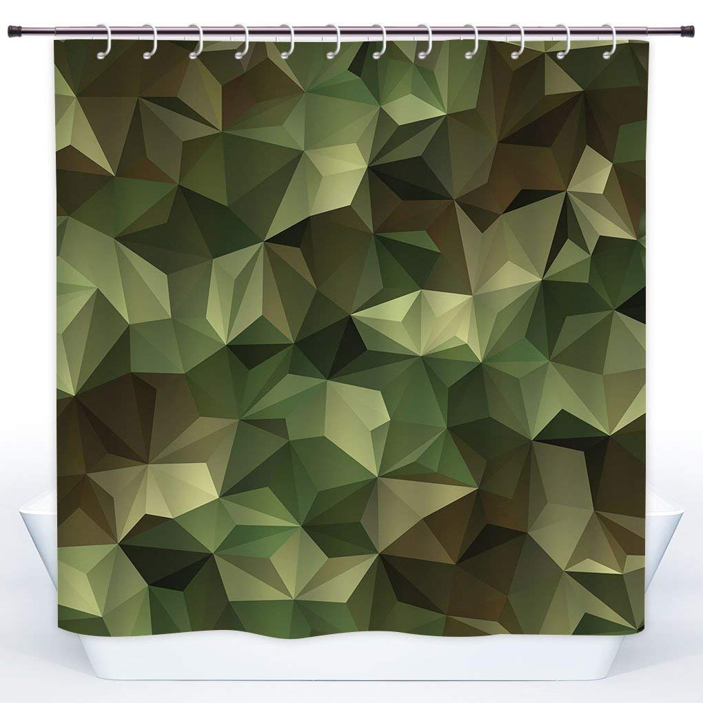 Get Quotations SCOCICI Stylish Shower CurtainSageGeometric Fractal Shapes Triangles Army Military Camo Inspired Form