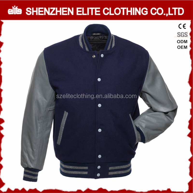 fashion plain woolen custom made quilted bomber jackets for men with embroidery