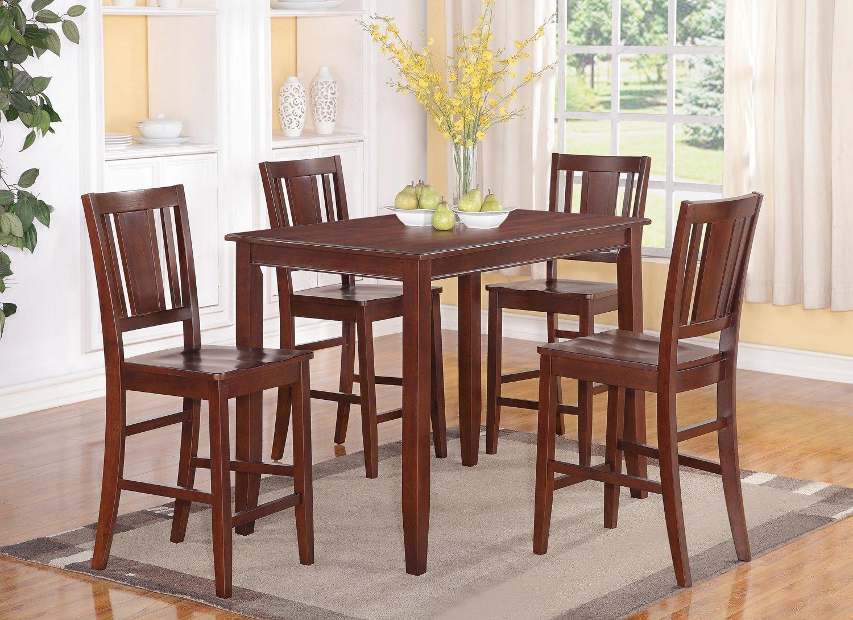 East West Furniture BUCK5-MAH-W 5-Piece Gathering Table Set, Mahogany Finish