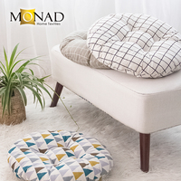 Monad thick canvas print meditation round floor cushion wholesale indoor decorative car seat cushion