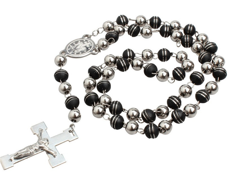 Religious Jewelry Cathedral Redemption Cross Jesus Chaplet Beads Necklace