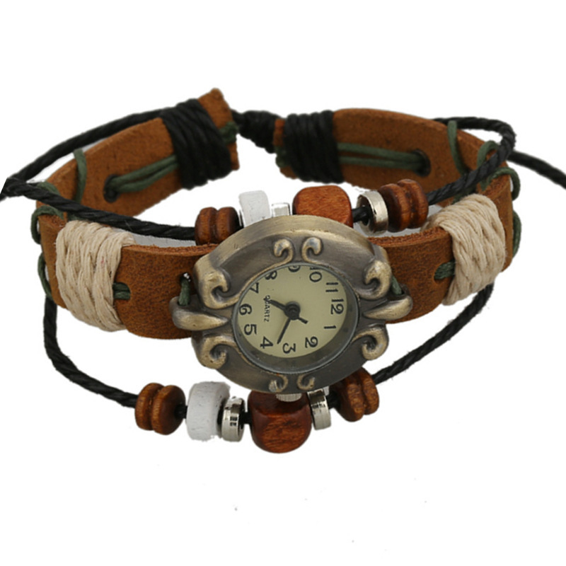 Hot Selling Women Antique Bracelet Wristwatches Brown Genuine Leather Multi Bead Rope Weave Friend Ladies Antique Quartz Watches
