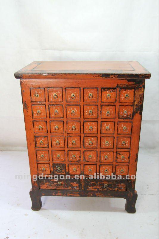 Muebles Antiguos Chinos De Madera De Pino Naranja Botiquín - Buy ...