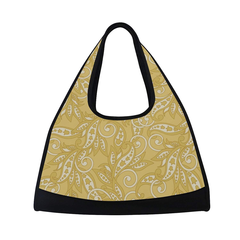Sport Gym Bag Vintage Leaf Canvas Travel Duffel Bag