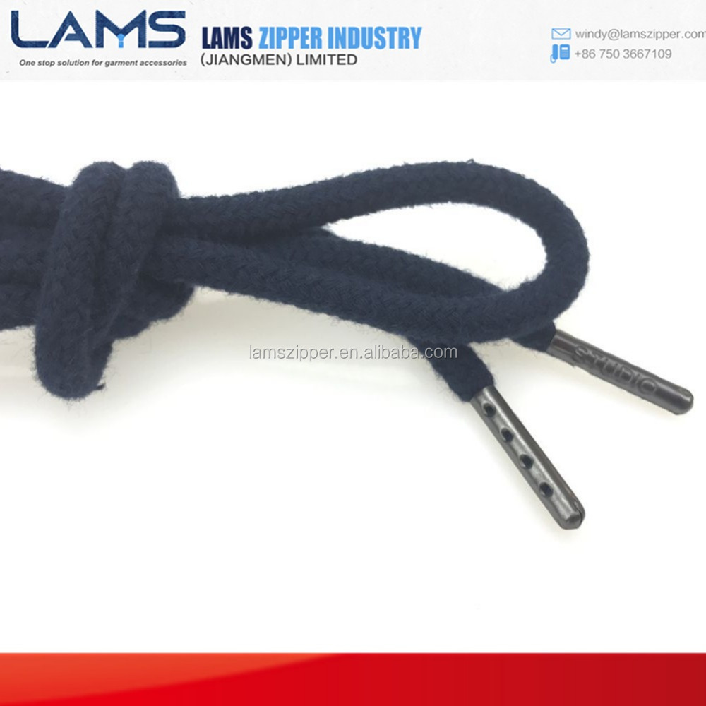 Round Drawcord with metal tip metal aglets for pants and hoodies