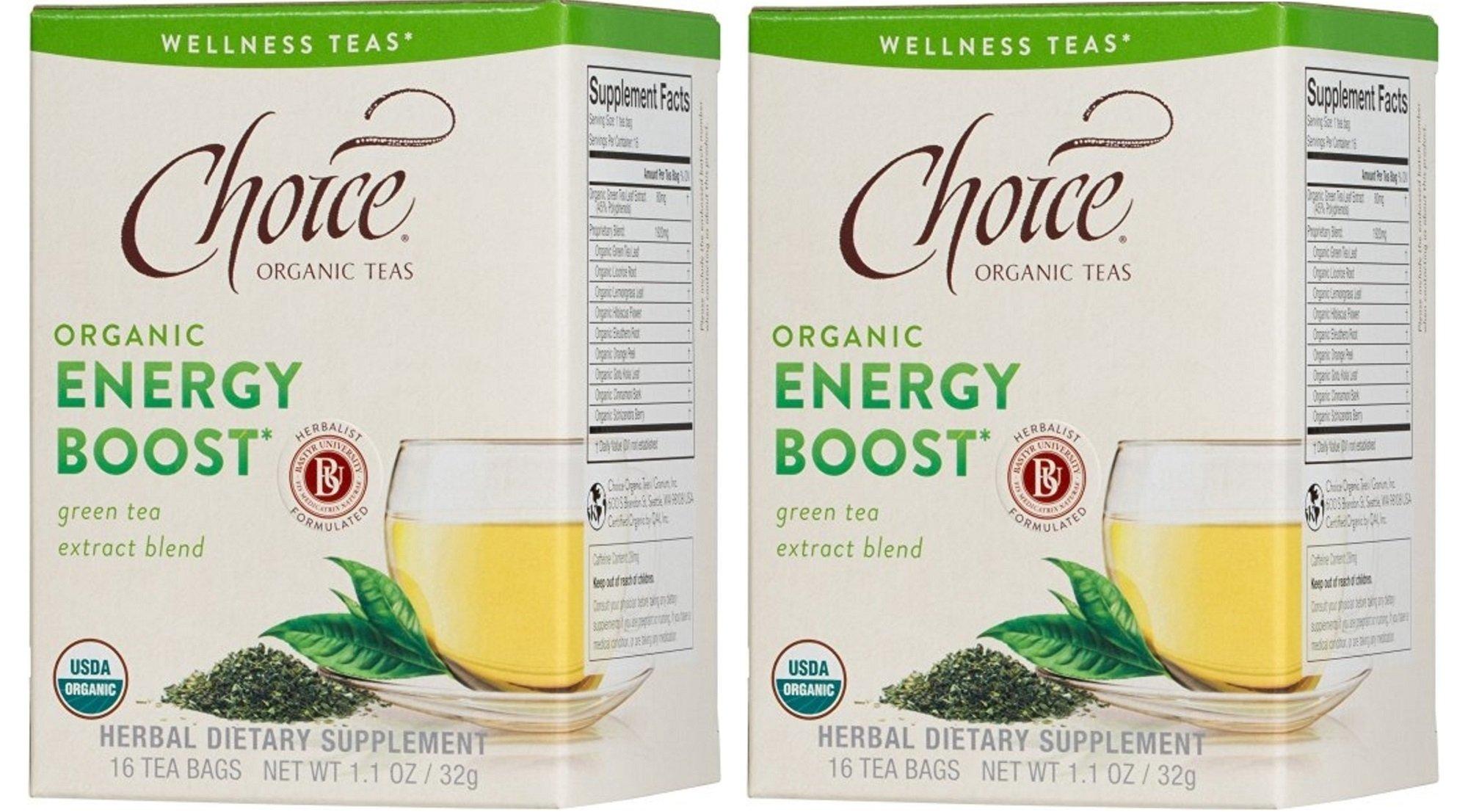 Choice Organic Teas Energy Boost Green Tea Extract Blend -- 16 Tea Bags - 2 pc