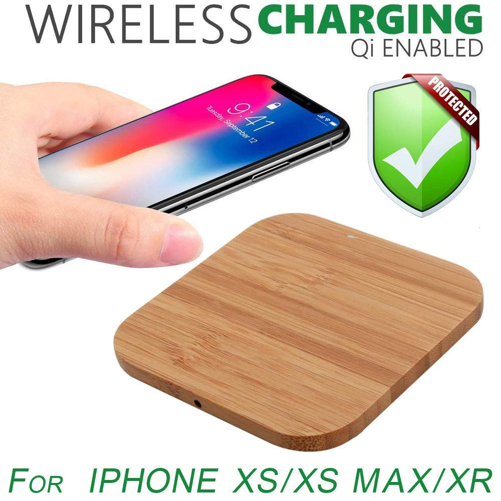 USHOT Ultra-Thin Wood Qi Wireless Charger Mat Charging Pad for iPhone Xs/XS Max/XR, iPhone Xs Accessories-Phone case/creen Protector/Tempered Film/Charger