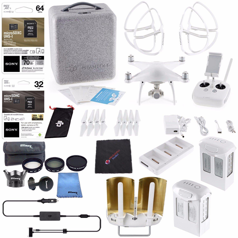 DJI Phantom 4 Quadcopter + DJI Intelligent Flight Battery (5350mAh) + Intelligent Flight Battery (5870mAh) + DJI Battery Charging Hub + Sony 32GB Card + Sony 64GB Card + Cloth Bundle