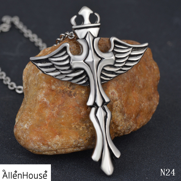 New Gift Unisex's Silver Plated Men Stainless Steel Jesus Angel Wing Cross Pendant Necklace jewelries
