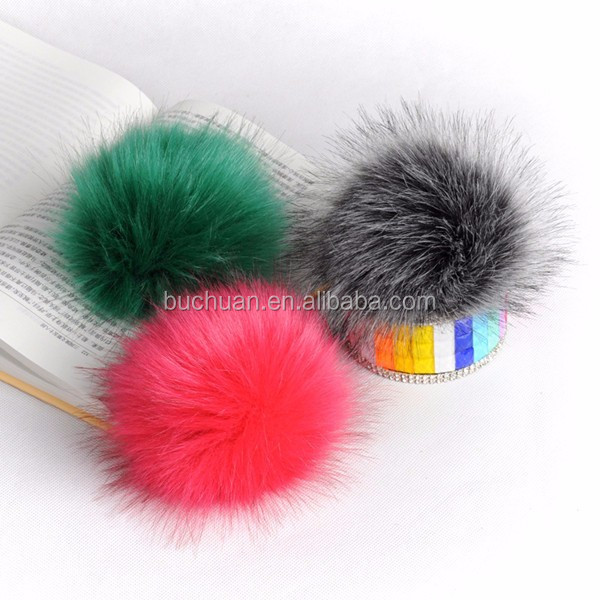 Factory Wholesale Colorful Real Fox Fluffy Fur Pom Poms / Balls