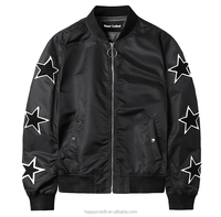 Custom American College Bomber Stars Patched Embroidered Polyamide Baseball Jackets