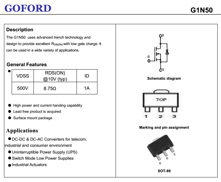 High Voltage Switch Mosfet G1n50 500v 1a High Quality Transistor  Manufacturer - Buy High Voltage Switch Mosfet,500v Transistor,High Quality  Transistor