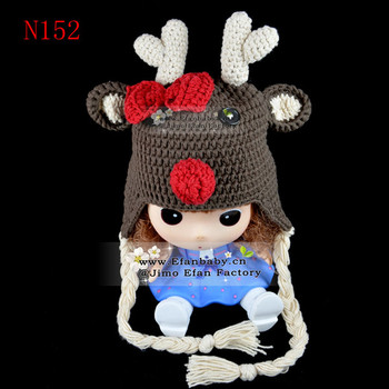 2014 Cap Knit Baby Crochet Hat Reindeer Pattern Knitting Free Winter
