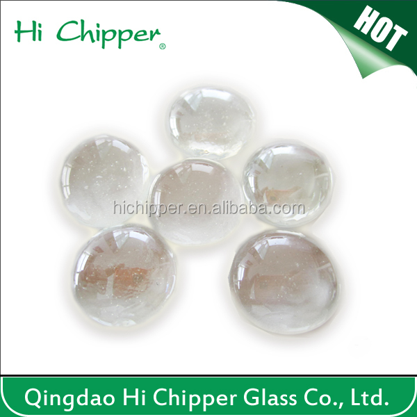 Clear reflective flact back colored polished glass gems for fire pit decoration