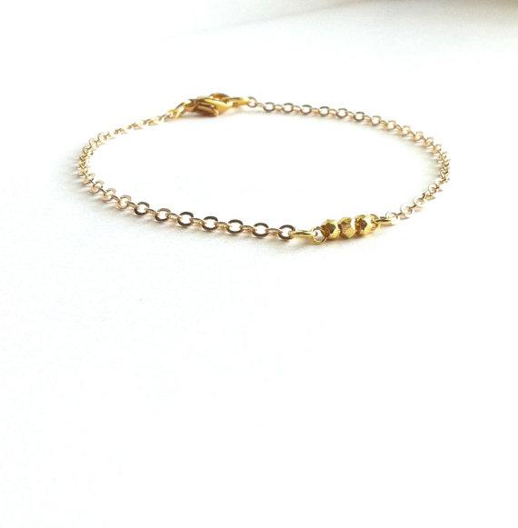 Delicate Gold Bracelet, Thin Gold Bracelet, Gold Minimalist Jewelry ...
