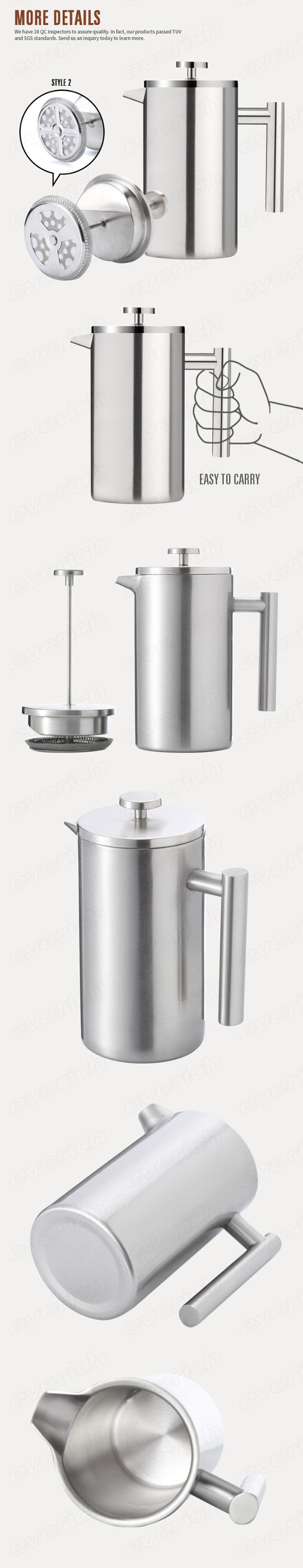 Everich Grosir Stainless Steel Kopi Bahasa Perancis Press Portable French Press