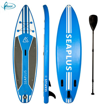 Fissot 2018 new double wall constructed inflatable SUP paddle board with carbon paddle