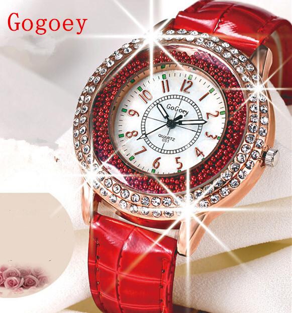 Топ 2015 Gogoey женщины кварцевые наручные часы горный хрусталь роскошный кожаный ремешок часы леди платье девушки часы relogios femininos часы