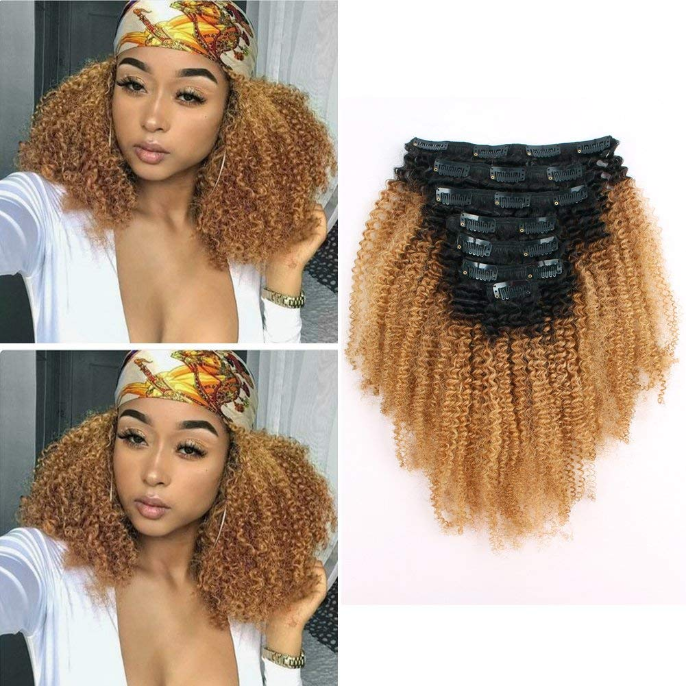 Sassina Real Remi Human Hair Extensions Clip on Hair Double Wefts Afro Curly Two Tone Natural Black Fading to Strawberry Blonde 120 Grams 7 Pieces Per Bundle With 17 Clips AC TN27 18 Inch