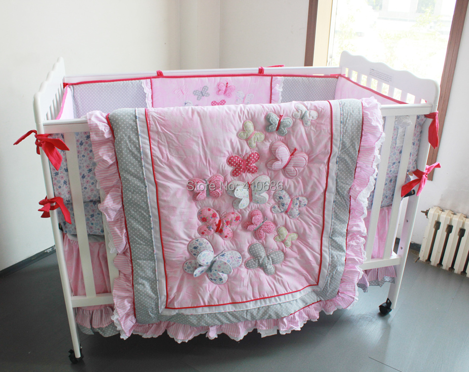 Elegant Princess Baby Crib Bedding Sets 7pcs Nursery Cot