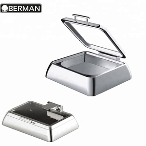 New design stainless steel hot fried chicken food display warmers chafing dishes and burners