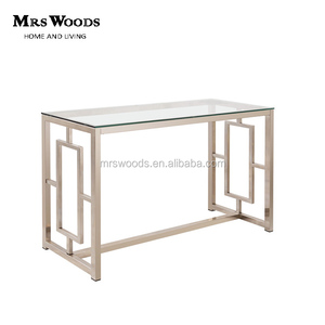 Classic glass top nickel metal frame rectangular mirrored console table