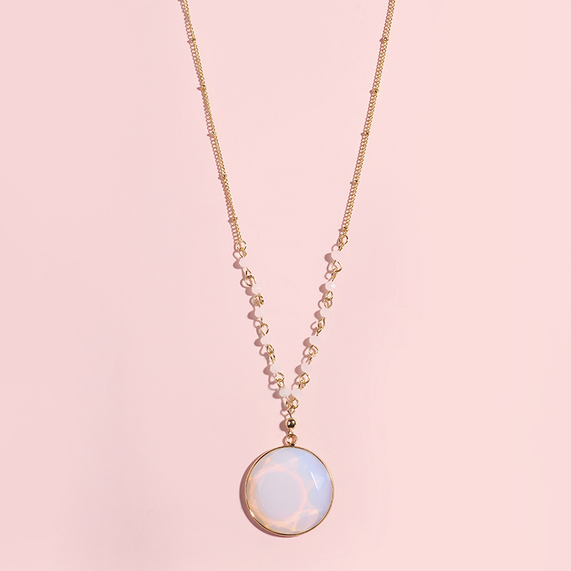 d7259202b744 Dama de honor rosa de cristal de cuarzo redondo collar de piedras preciosas  Natural encanto de
