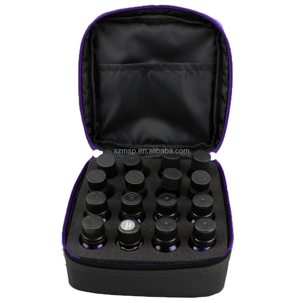 Black essential oil carry bag with insert foam holds 16 vials from direct manufacturer China-Original design, IN STOCK