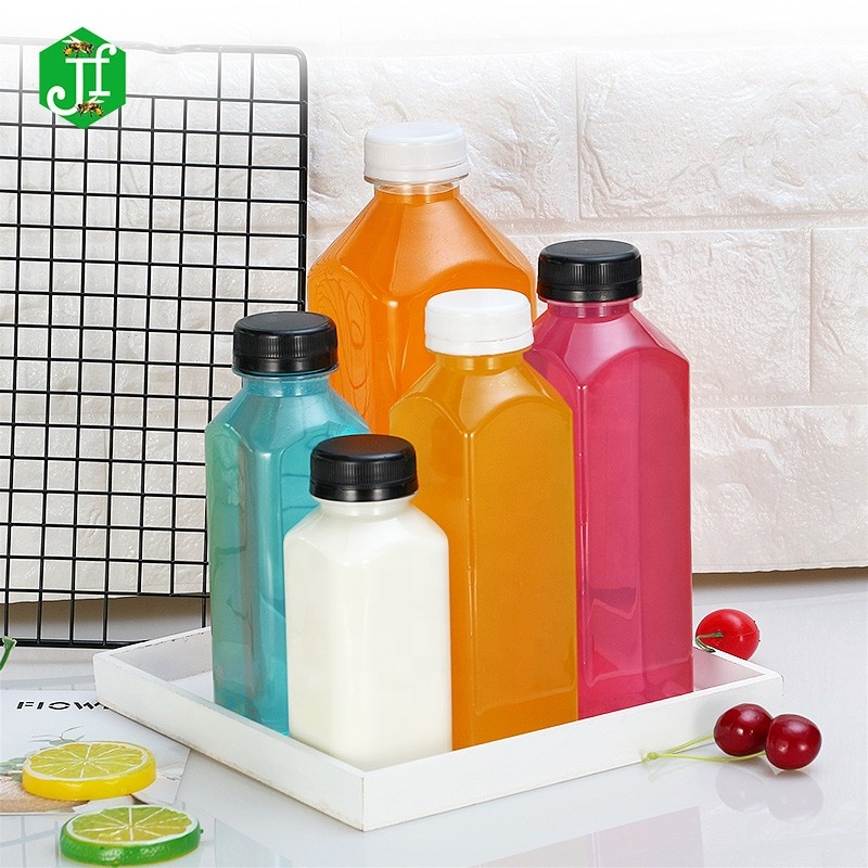 Popular Empty Beverage Bottle, 250ml PET Plastic PET 16OZ French Square Juice Bottle