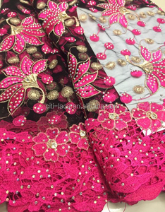 TS52-3 Fancy handwork beaded embroidery bridal laces fabric 100%Polyester Material