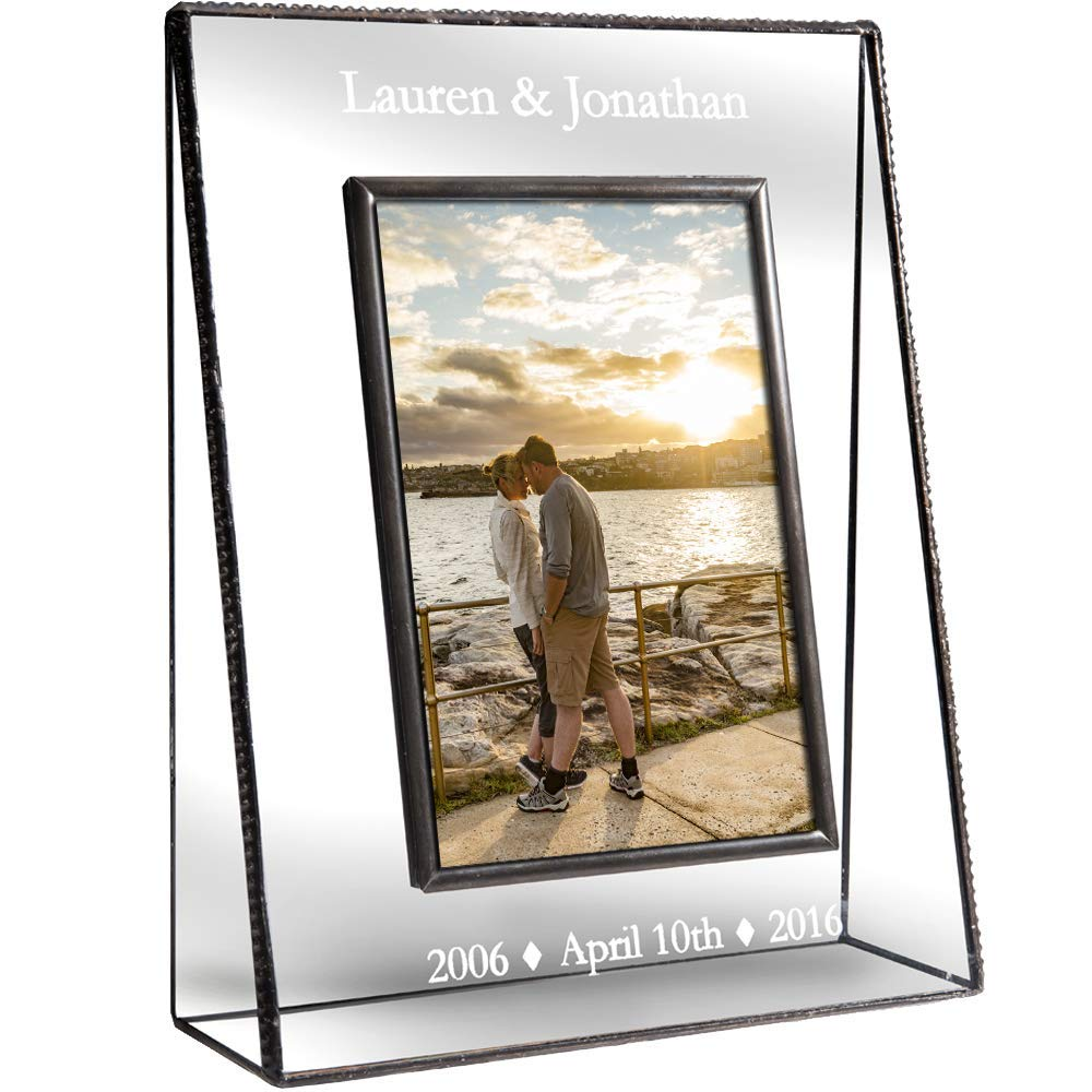 J Devlin Pic 319-46V EP549 Personalized Anniversary Picture Frame Engraved Glass Photo Frame Keepsake Gift 1st, 5th, 10th, 15th, 20th, 25th, 30th, 40th, 50th Anniversary