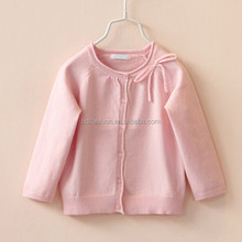 Soft handfeel 100% cotton yarn knitted solid color spring baby cardigan