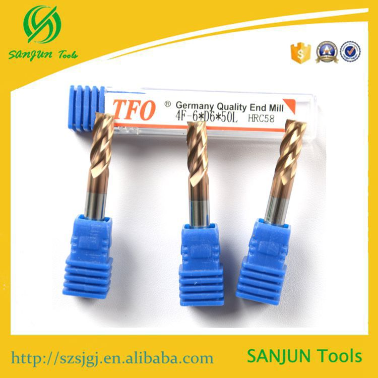 Solid carbide hss tool bits / High quality HRC 58 4F-6mm*D6*50L carbide square end mill