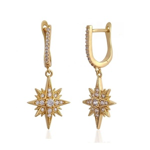2019 Best design diamond starburst cheap price hoop earrings gold plated