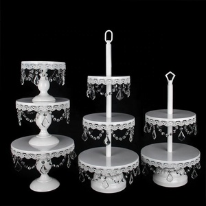 High Quality Tiers Metal Wedding Elegant Party Wedding Decorative Hanging Crystal Beads White Wedding Cake Stand Set