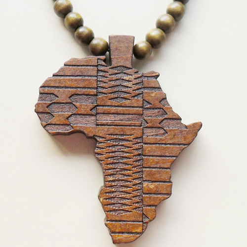 africa map wood necklace