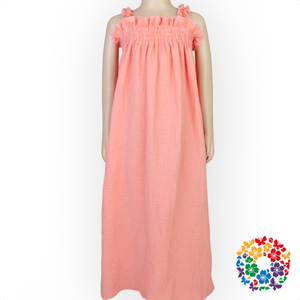 Solid Coral Color Long Dresses For Kids Baby Girls Party Maxi Dresses For Weddings Summer Shoulders Puffy Dresses For Kids