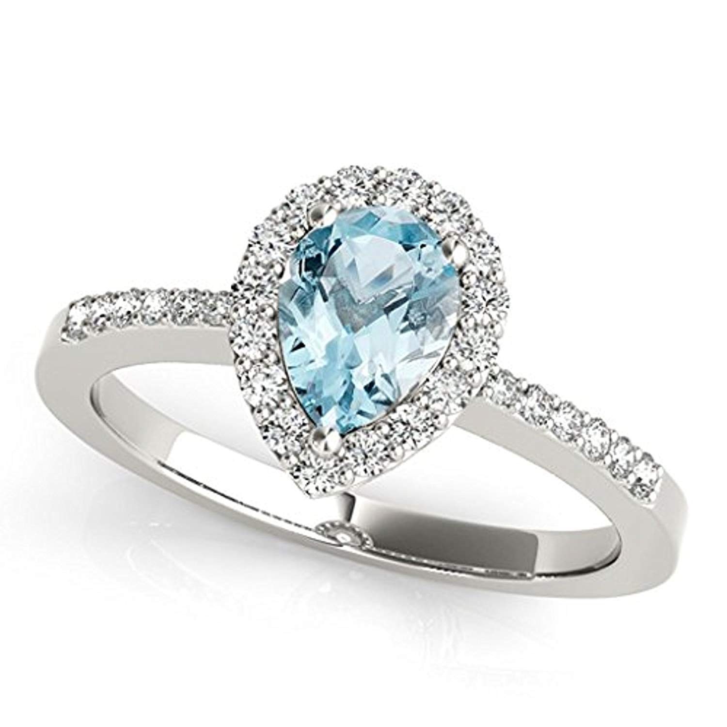 tusakha 1.80ctw Pear Shaped Created Blue Topaz /& White CZ Diamond 14k Rose Gold Over .925 Sterling Silver Halo Teardrop Engagement Ring For Women