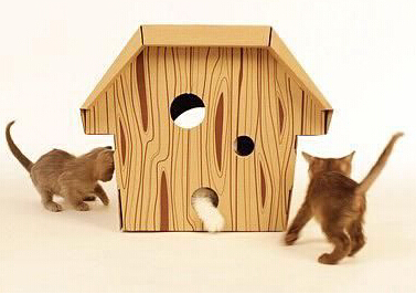 wood grain design corrugated pet house for cats or dogs