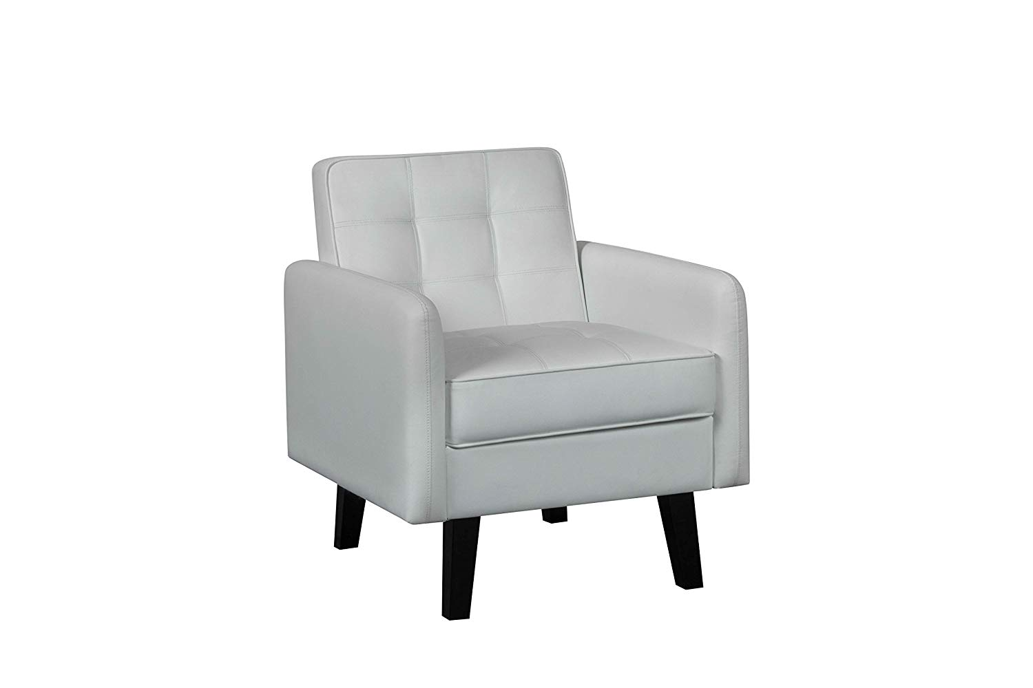 Container Furniture Direct C-134 Harper Collection Faux Leather Upholstered Mid Century Modern Accent Chair, Cream