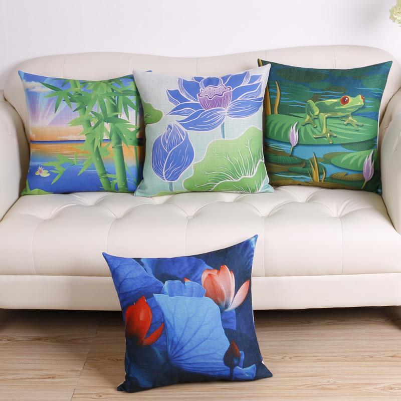 45cm Chinese Green Pond Fashion Cotton Linen Fabric Throw Pillow Hot Sale 18 Inch New Home Decor Sofa Car Cushion Office Nap FR