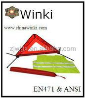 car safety kits emergency warning triangle hi vis vest