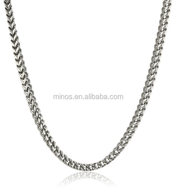 Wholesale High Quality 24k Gold Filled Chain Men's Stainless Steel 4mm Chain Necklace