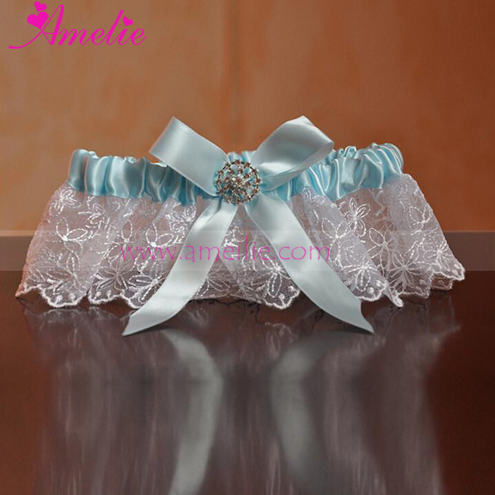 2017 New Embrodiery Lace Girls Wearing Garter Belts Blue Party Wedding Favors Bridal Garter